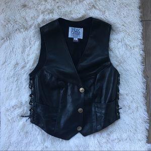 Jackets & Blazers - Fox Creek Genuine LeAther Side Lace Up Moto Vest